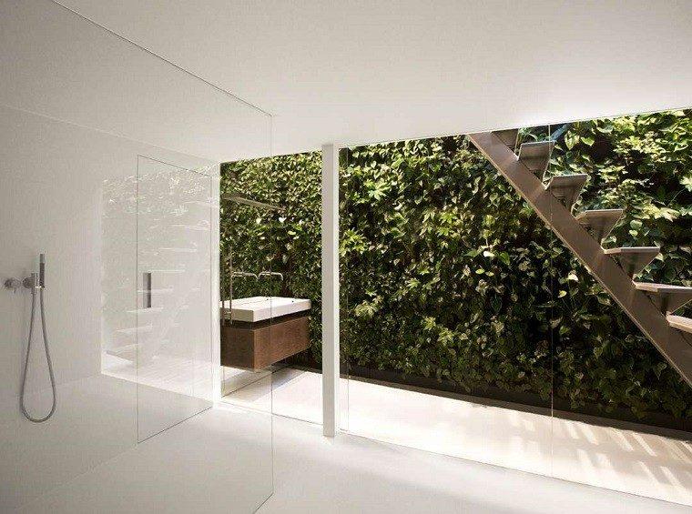 baño blanco ideas plantas ducha