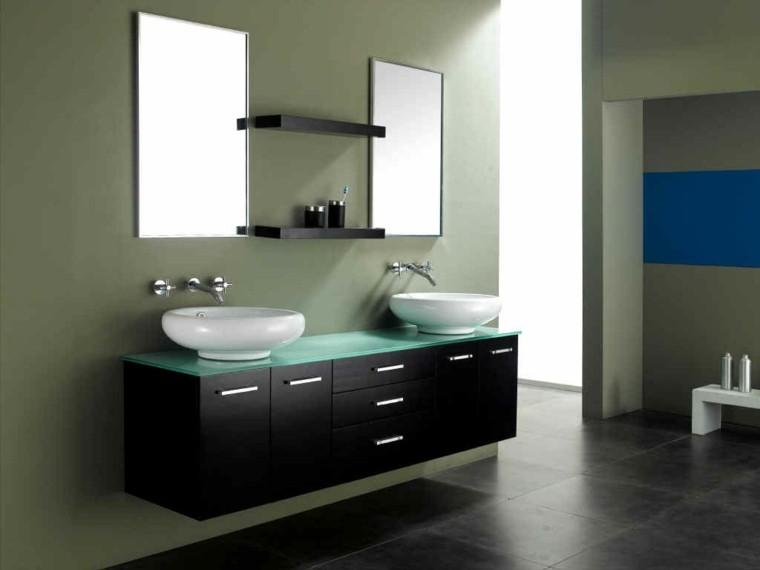 baño creativo lavabo espejo blanco