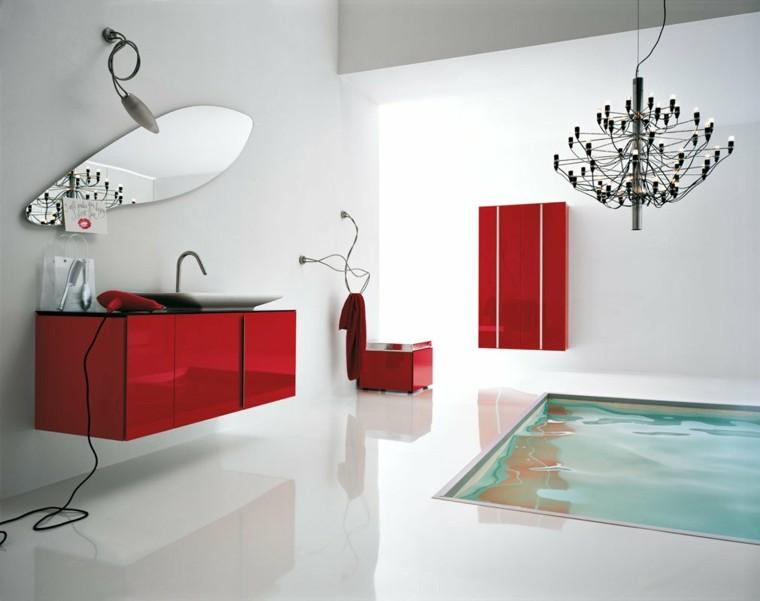 cuarto baño lujoso muebles rojos