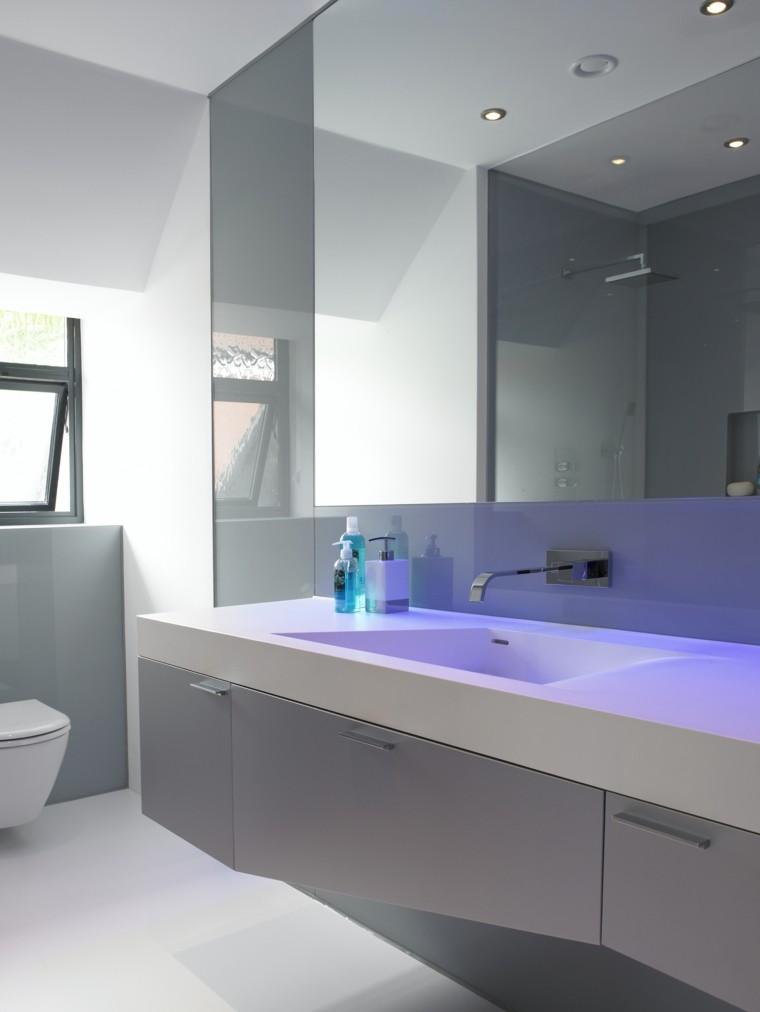 baño mobiliario led blanco lavabo