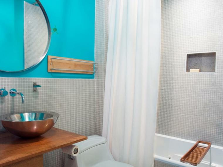 baño moderno color azul turquesa