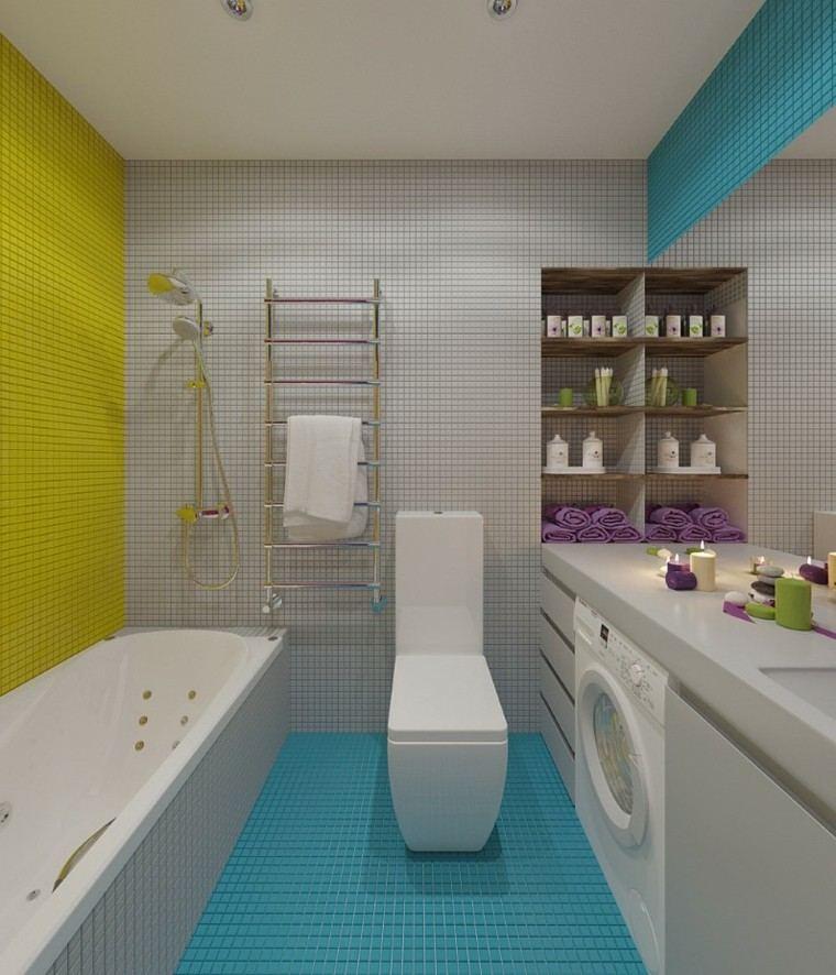 Muebles De Baño Color Turquesa:Diseño de cuarto de baño moderno con mueble amarillo