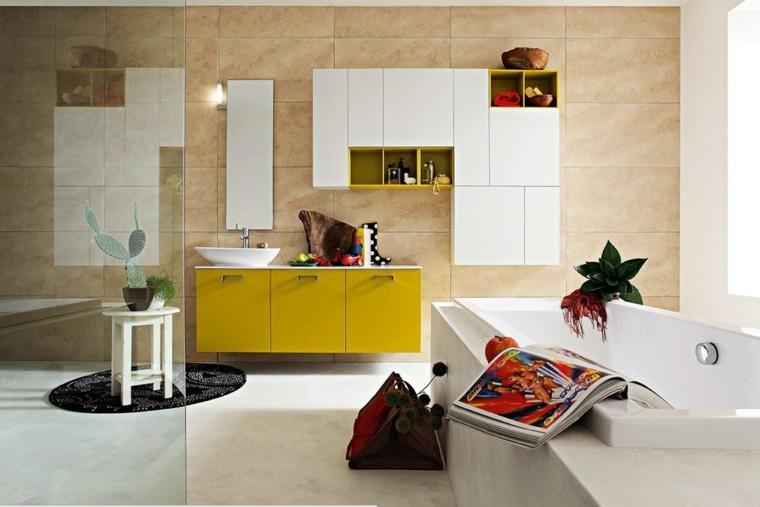 cuarto baño moderno mueble amarillo