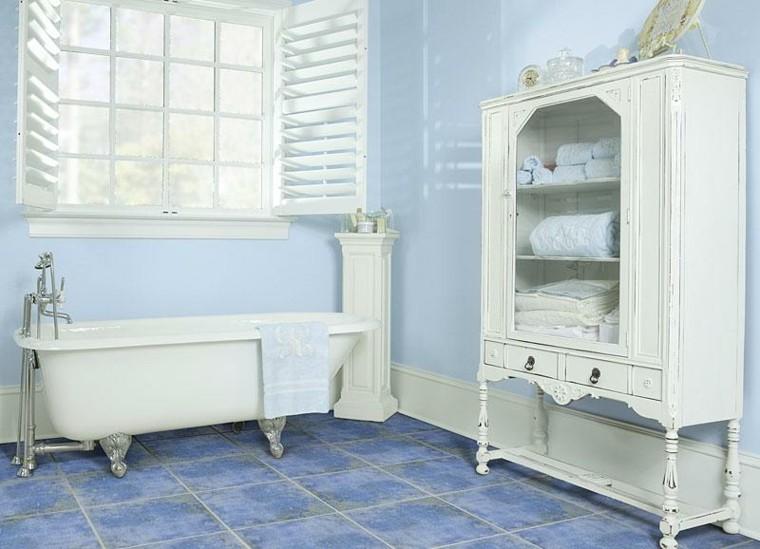 baño retro color celeste