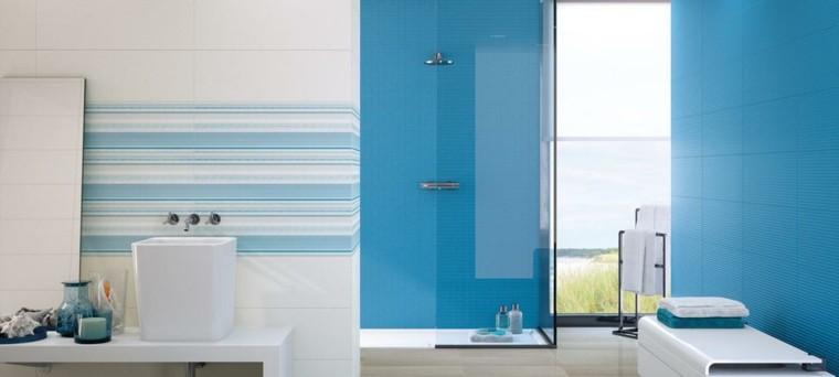Ba os de color cincuenta ideas estupendas - Banos en azul y blanco ...