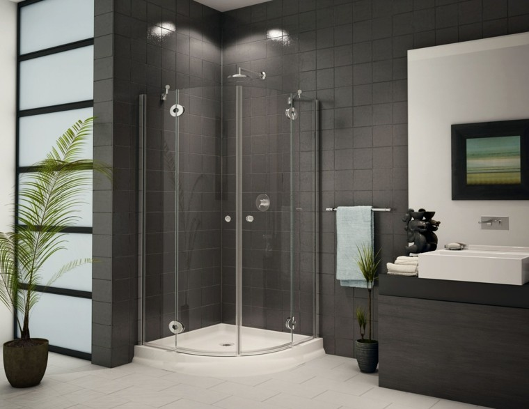 diseño baños con plato de ducha azulejos grises