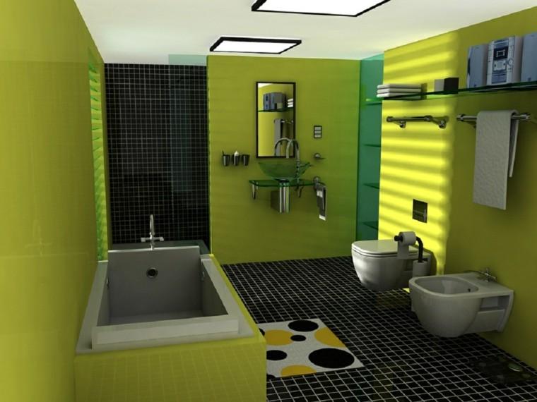 Mueble Baño Amarillo:Diseño de cuarto de baño moderno con mueble amarillo