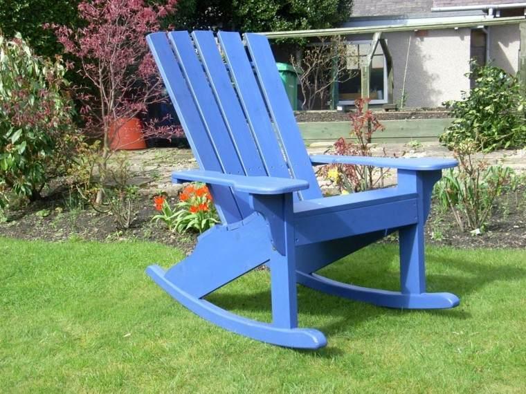 mecedora madera color azul