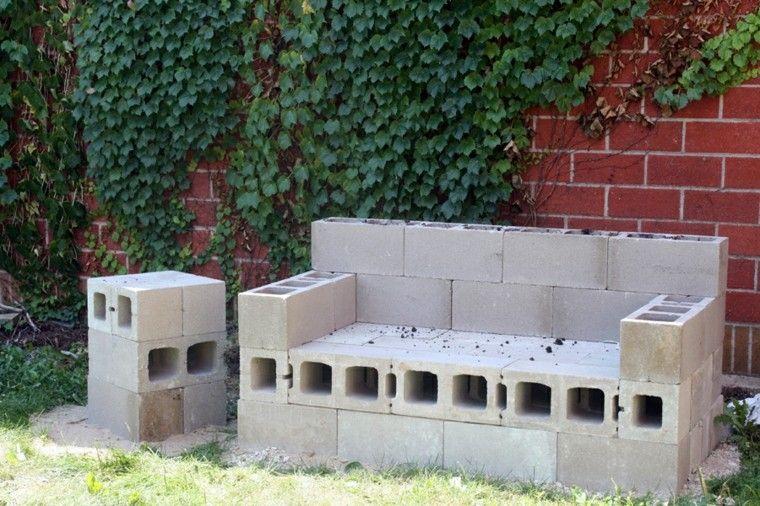 banco ladrillos cemento jardin