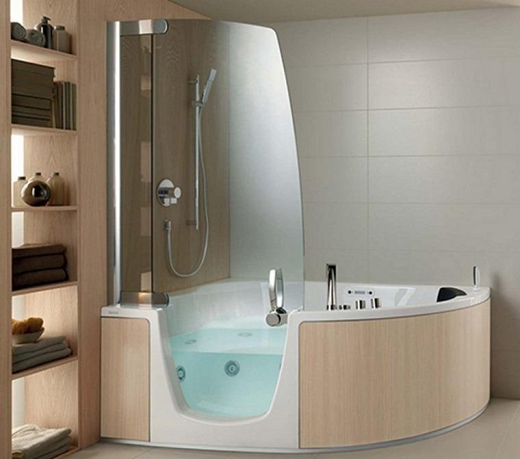 Ba era con ducha 50 variantes de dise o para combinarlas for Banera exenta pequena