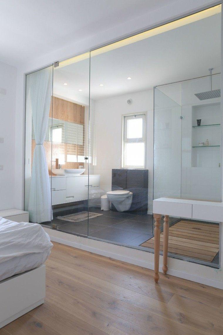 bano diseno mamapra cristal dormitorio pared madera ideas