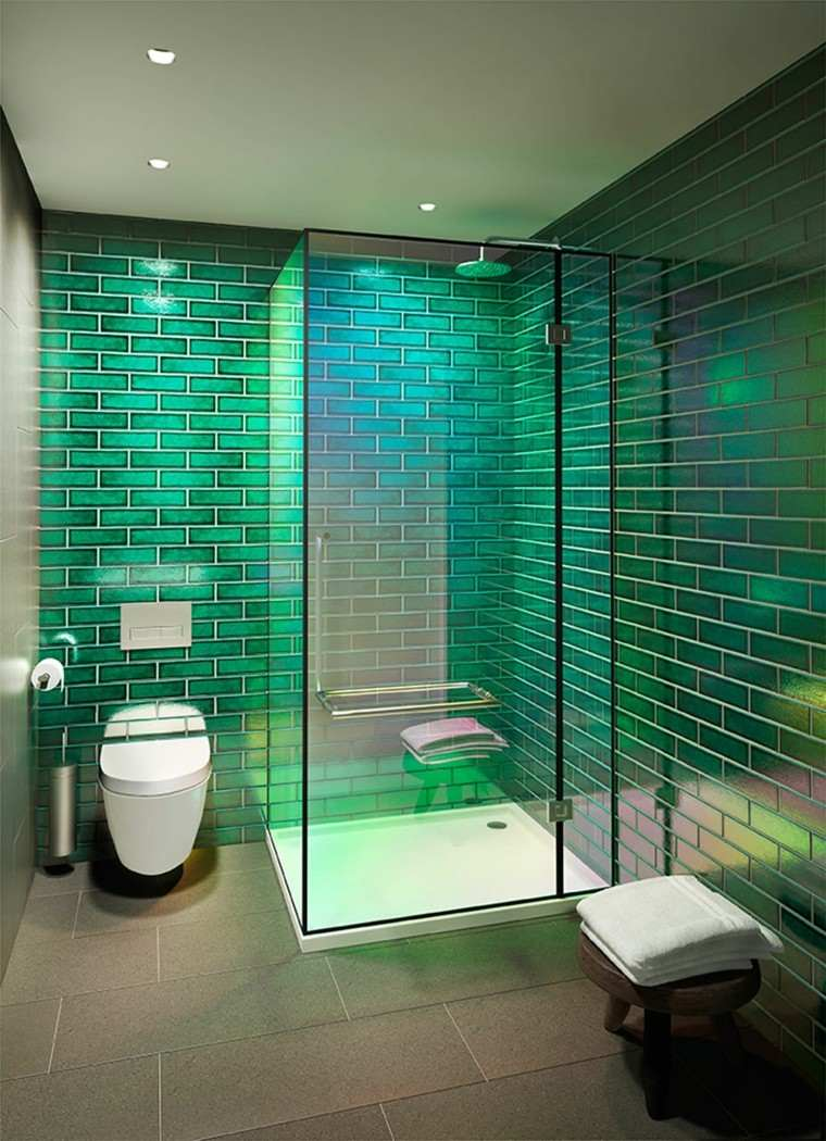 bano estilo minimalista losas verdes modernas ideas