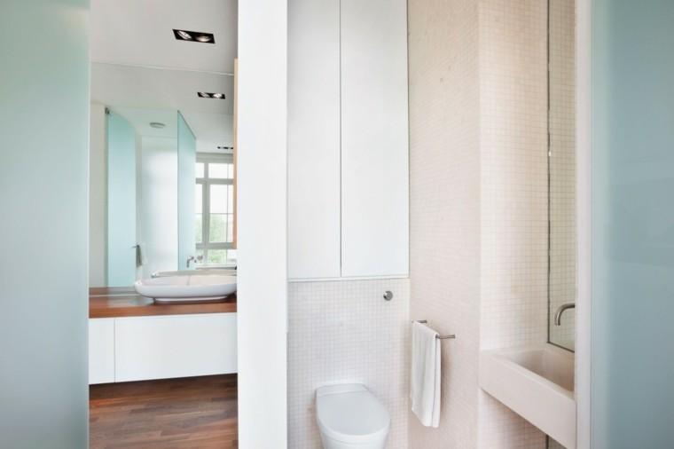 bano estilo minimalista mosaico blanco moderno ideas