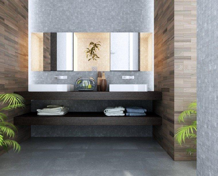 Baño Estilo Minimalista:baño moderno al estilo minimalista con estanterias de madera