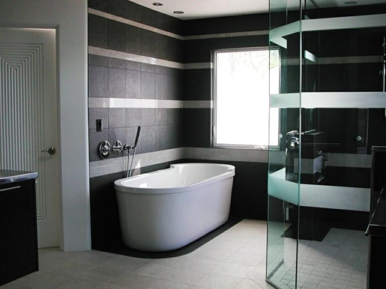 Diseno De Baños Color Gris:bano losa gris oscuras banera ducha mampara cristal ideas