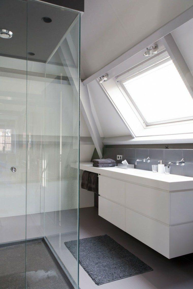 bano mampara ducha losas grises muebles blancos ideas