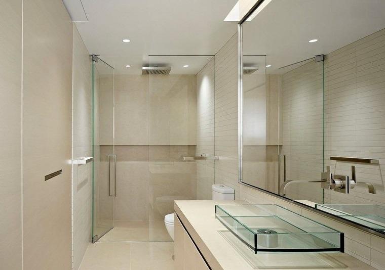 bano minimalista lavabo cristal estilo moderno