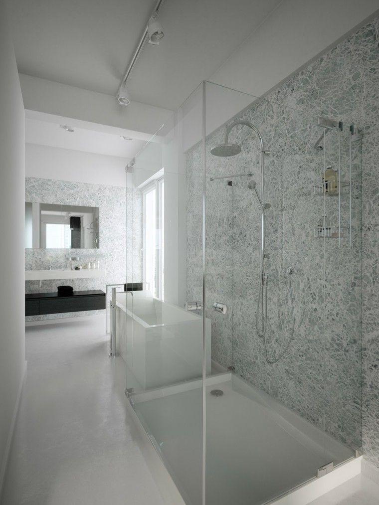 Baños Modernos Grises:bano moderno ducha banera pared marmol gris ideas