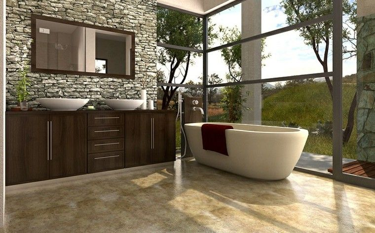 bano moderno lavabo madera pared piedra ideas