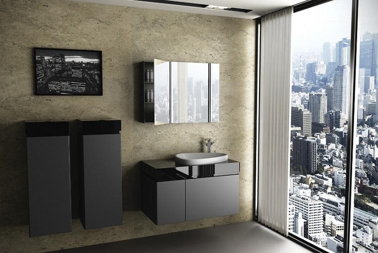 Baño Moderno Minimalista:Baño moderno al estilo minimalistacon pared roja