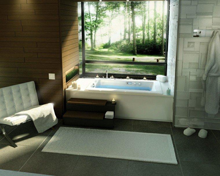 bano moderno ventanal sillon blanco banera ideas