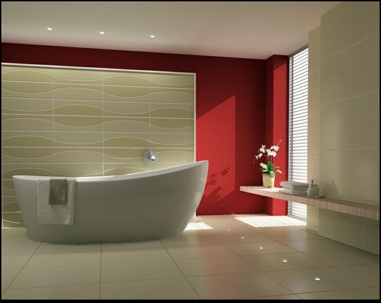 bano pared roja estilo minimalista ideas