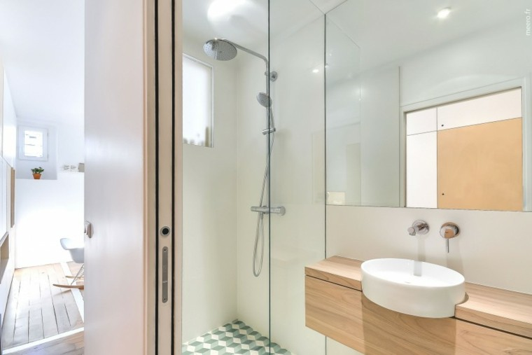 bano pequeno moderno ducha lavabo madera ideas
