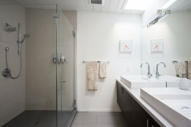 banos estilo minimalista mampara ducha cristal ideas