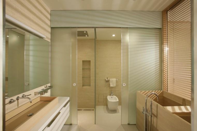 Ba os minimalistas modernos 100 ideas impresionantes for Banos marrones y beige
