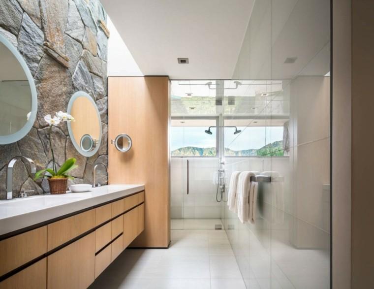 banos estilo minimalista moderno armario madera ideas