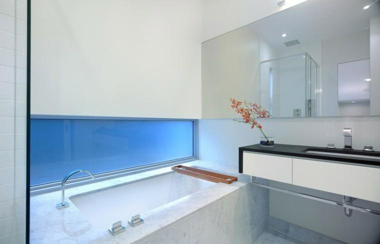 banos estilo minimalista moderno banera losas granito ideas