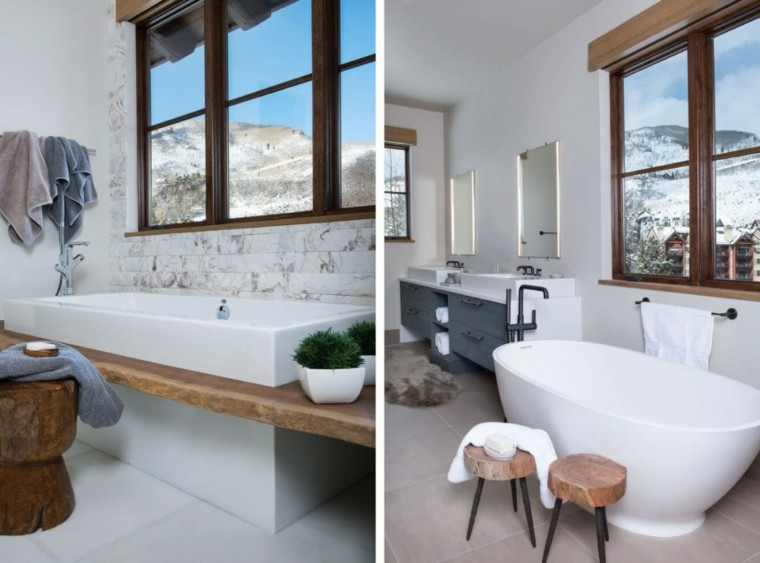 banos estilo minimalista moderno banera madera ideas