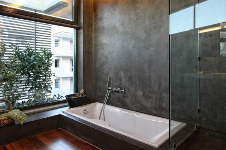 Baños Con Ducha Negra:baño moderno al estilo minimalista con pared de hormigón