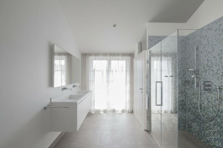 banos estilo minimalista moderno cortina blanca ideas