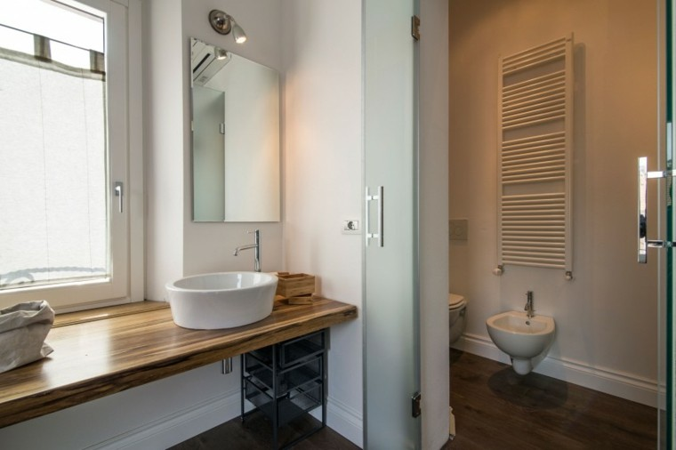 banos estilo minimalista moderno encimera madera lavabo ideas