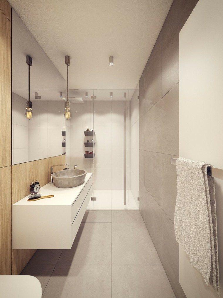 banos estilo minimalista moderno estrecho ducha ideas