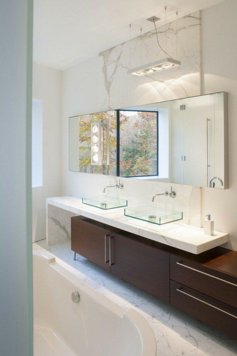banos estilo minimalista moderno estrecho espejo ideas