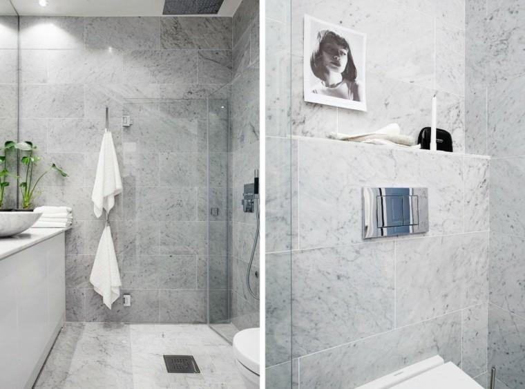 banos estilo minimalista moderno estrecho losas grises ideas