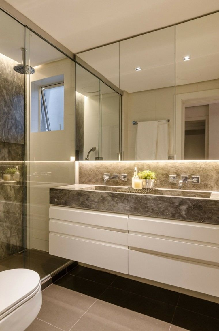 Baños Modernos Marmol:baño moderno al estilo minimalista con lavabo de mármol