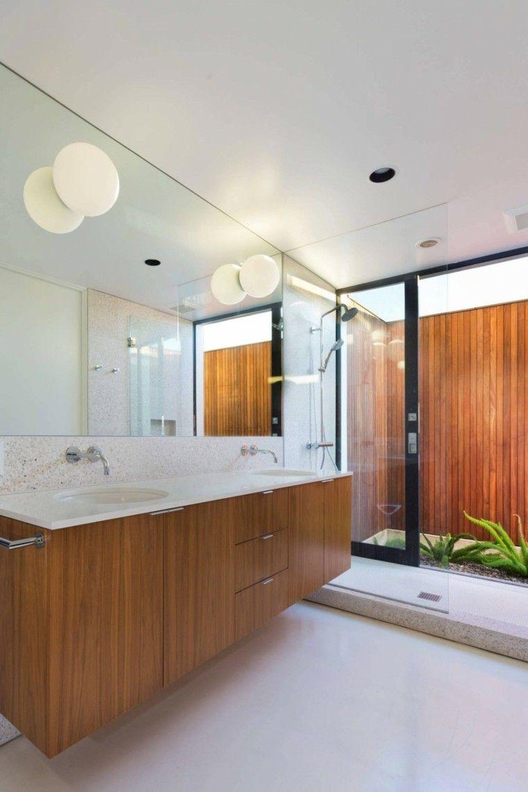 banos estilo minimalista moderno lavabo madera espejo grande ideas