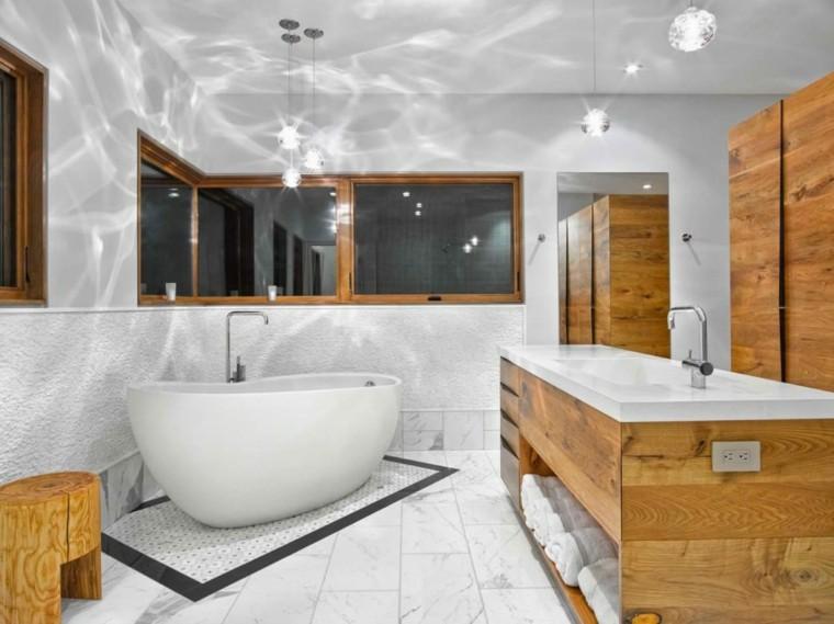 banos estilo minimalista moderno lavabo madera ideas