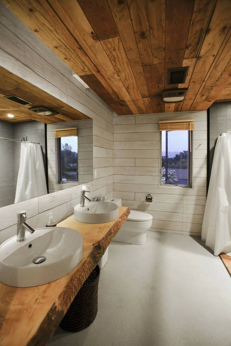 bano estilo minimalista moderno lavabo pared madera ideas