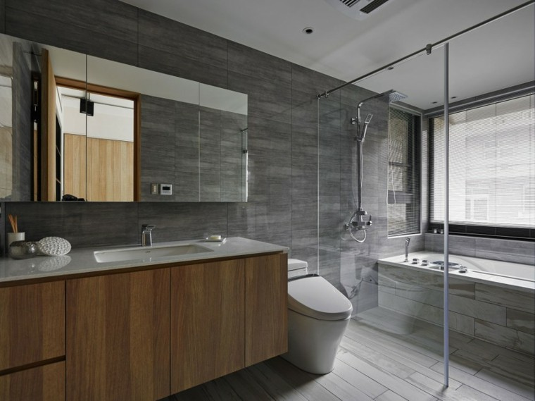 banos estilo minimalista moderno losas grises ideas
