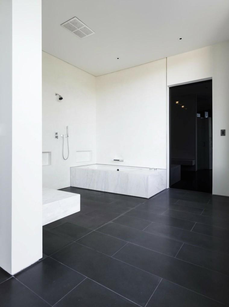 banos estilo minimalista moderno losas negras ideas