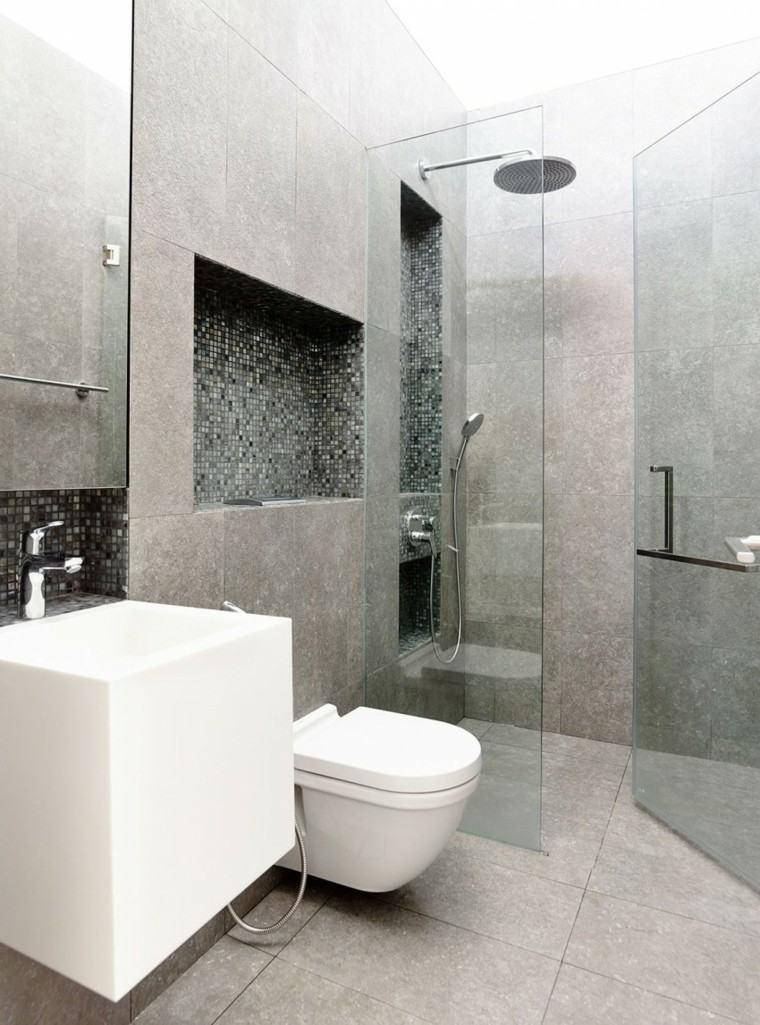 banos estilo minimalista moderno mosaico ducha ideas