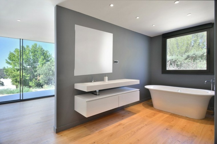 banos estilo minimalista moderno pared gris ideas