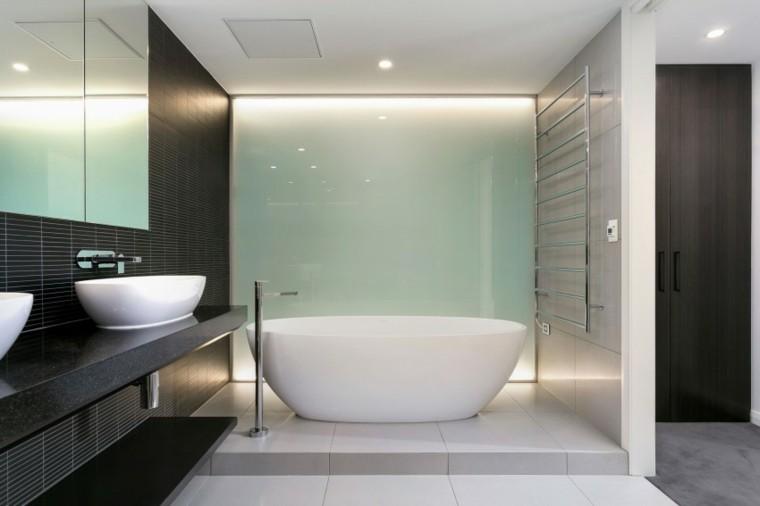 banos estilo minimalista moderno pared lavabo negra ideas