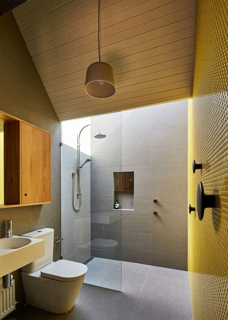 banos estilo minimalista moderno pared mosaico amarillo ideas