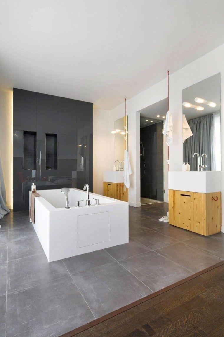 banos estilo minimalista moderno pared negra ideas