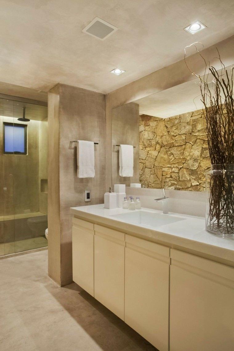 banos estilo minimalista moderno pared piedra ideas